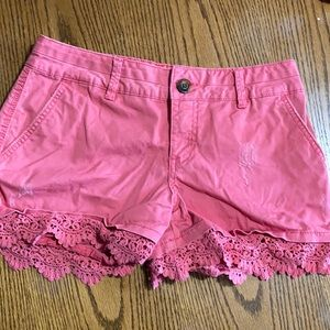 Maurices coral pink crochet shorts 3/4